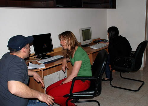 In the office, during the discussion with Verena Kyselka, 2008.